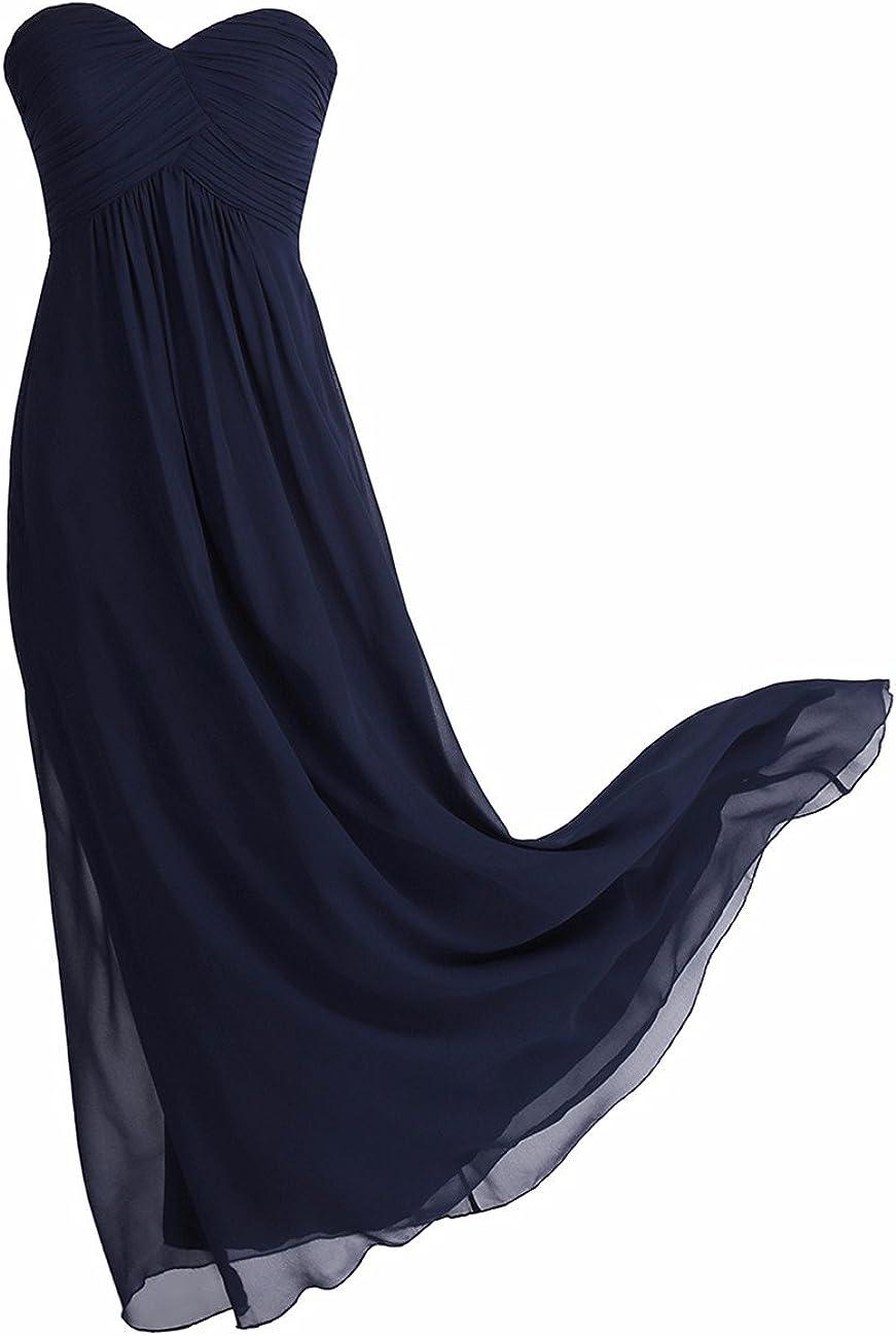 YiZYiF Elegant Damen Kleider Lange Abendkleid Festliche Hochzeit Party Herzausschnitt Cocktailkleid Chiffon Brautjungfernkleider Abschlussball Kleider Gr. 36-46