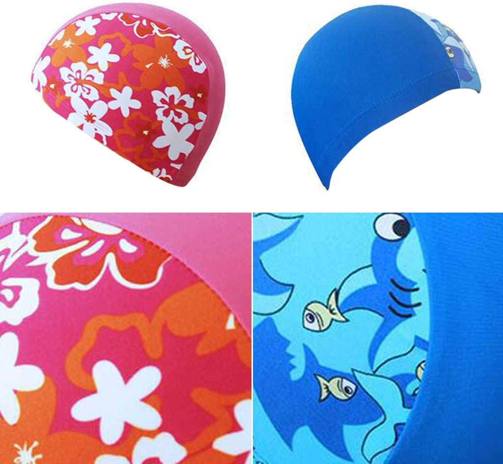 IvyH Ni/ños Nataci/ón Cap Ni/ños Unisex Ni/ños Transpirable Nataci/ón Sombrero Impermeable Nadar Cap Cartoon Dolphin Patrones