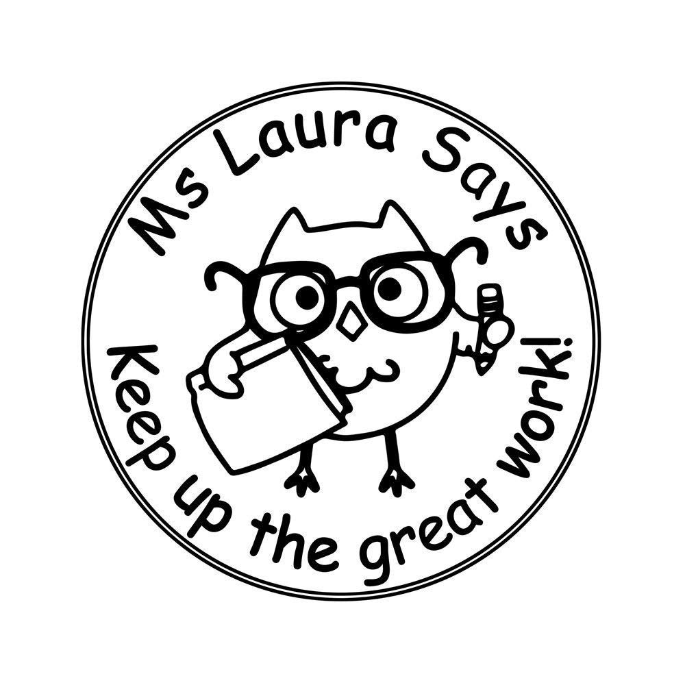 Teacher Stamps Personalized 38mm Round Night Owl Bird of Minerva Handmade with Love by Praise Comment Business Return Name Address Stamper