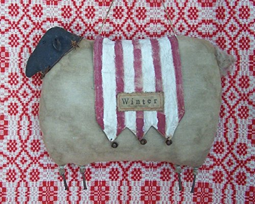 Primitive Farmhouse Christmas Sheep - WINTER on one side, OLD GLORY on the other side