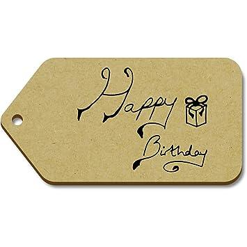 Azeeda 10 x Grande Texto del Feliz Cumpleaños 99mm x 51mm Regalo/Equipaje