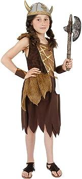 NET TOYS Traje de Wickie el Vikingo Disfraz bárbaro luchadora niñas