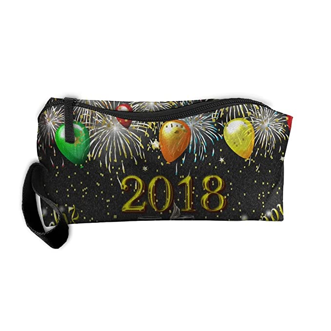 b7e60218c624 2018 Happy New Year Travelling Makeup Bag For Women Cosmetic Case With  Zipper