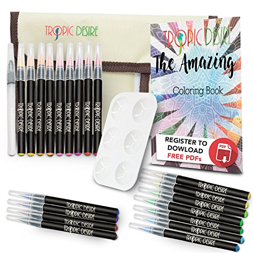 Watercolor Brush Pen Set – Vivid Watercolors for Professionals, Beginners, Adults, and Kids – 20 Watercolor Art Markers and Water Pen + BONUS Roll Up Wrap Case & Coloring Ebook by Tropic Desire