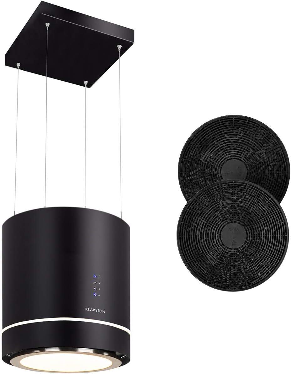 Klarstein Tron Ambience extractor de humos tipo isla - clase A, incluye filtros de carbón activo, 38 x 45 cm (ØxB) / colgado 60 cm, ventilación en 3 niveles, ventilación de 540 m³/h, negro