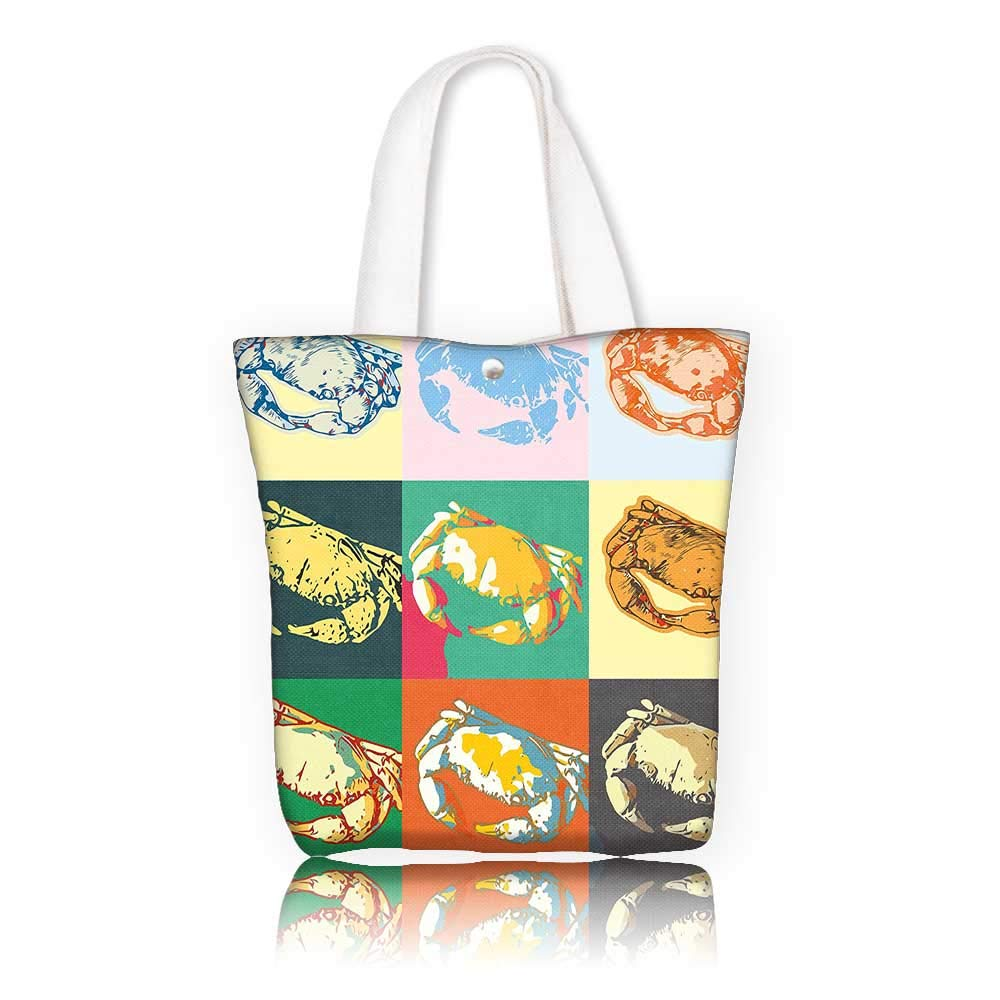 06d36d20ae58d Canvas Shoulder Hand Bag —W23 x H14 x D7 INCH/Grocery Shopping Bag for  Women Girls Students Crabs Decor A of Crabs in Different Colors Pop Art  Style Print ...