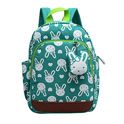 Enfants sac à dos enfant en bas âge enfants sac pour garçon fille avec harnais de sécurité laisse Litte School Bag Cute Design (Vert)