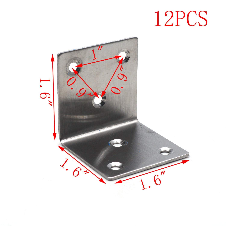 MTMTOOL Corner Brace Bracket 40 x 40 x 40mm Stainless Steel L Shape Fastener Bracket Right Angle Shelf Corner Protectors,12 Pack