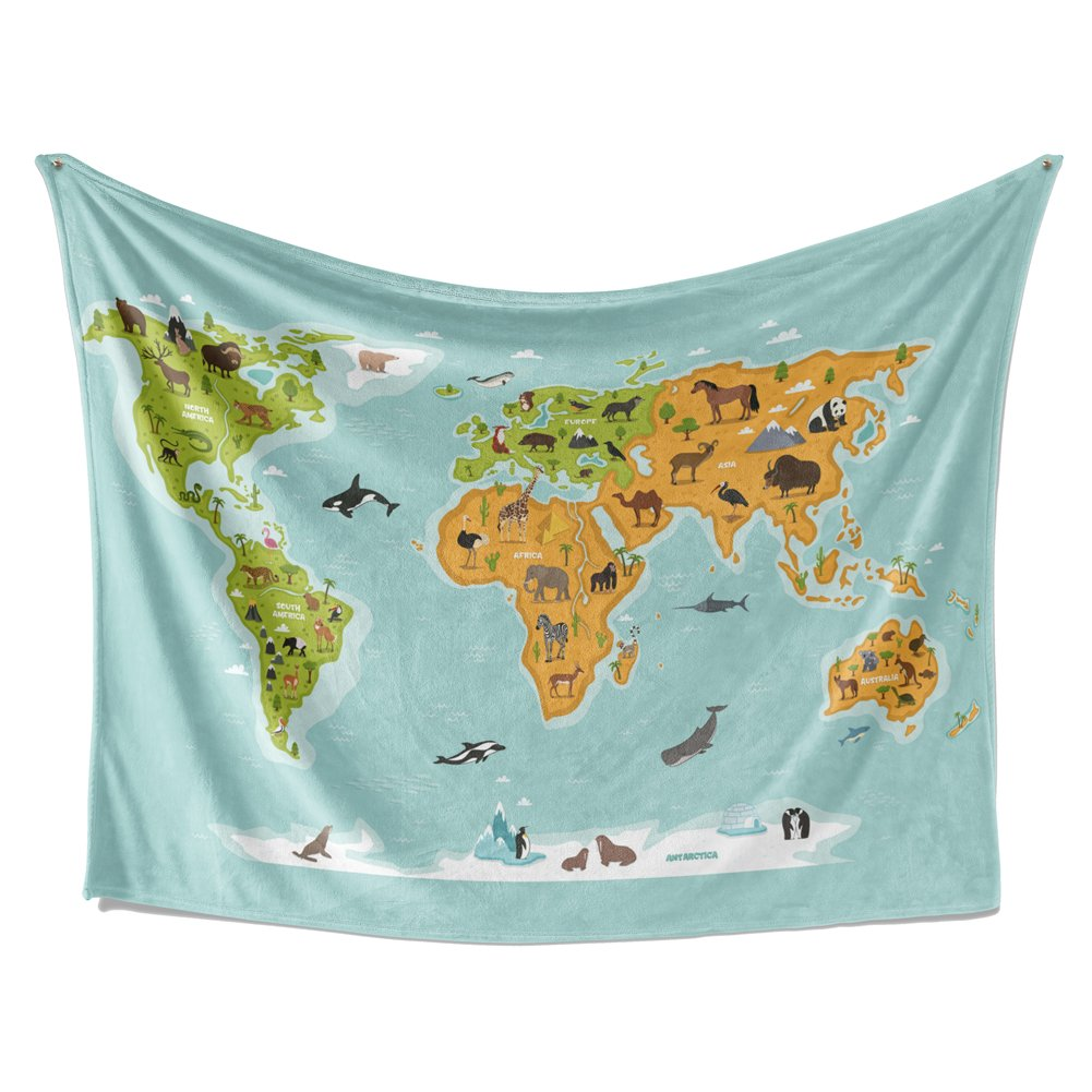 SimbaDeco Tapestry, Blue Ocean Cute Animals World Map Tapestry for Kids(Multi-Blue, 84Wx59L)