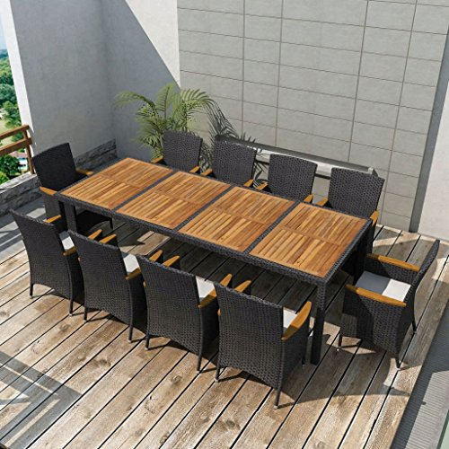 Festnight Outdoor Dining Set, 11 Piece Wicker Patio Garden Furniture Set for Pool, Terrace, Comfortable Cushions, Poly Rattan Black