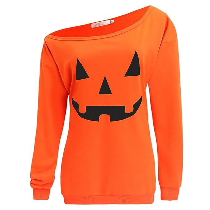 lyxinpf halloween sweater womens pumpkin print off shoulder slouchy sweatshirts orange s - Pumpkin Pictures To Print