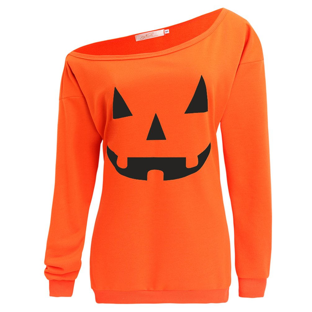 lymanchi Women Slouchy Shirts Halloween Pumpkin Long Sleeve Pullover Sweatshirts Orange XL