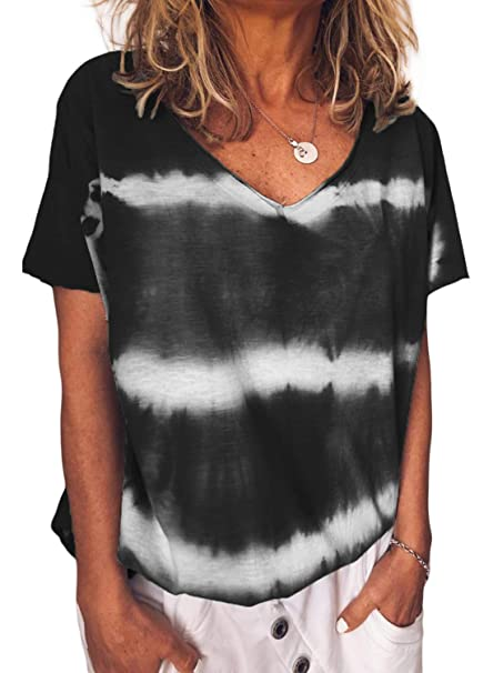 af292c68faefee Astylish Womens Short Sleeve T Shirt V Neck Loose High Low Color Block  Print Blouse Top