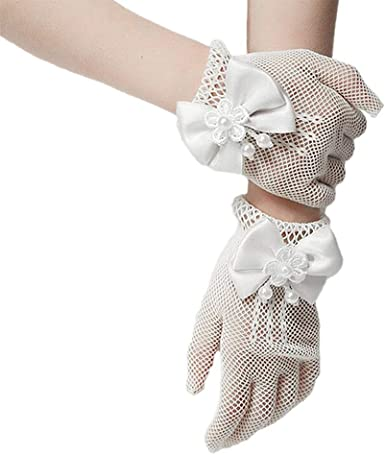 Girls First Communion Accessories White Fingerless Accented Flower Girl Gloves for Special Occasion Dress
