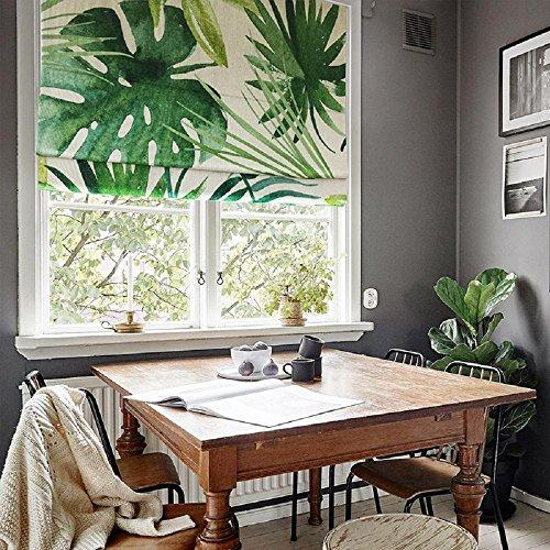 KARUILU home Quick Fix Washable Pleated Roman Window Fabric Shades Nature (Tropical Leaves, Custom)]()