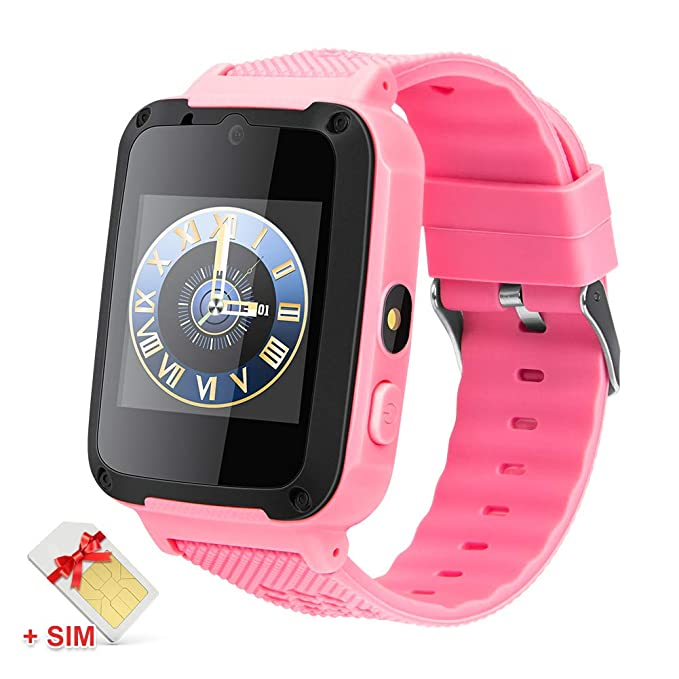 Kids smartwatch 2G SIM Card Included Camera Music Player Games 1.54 inch Touch Screen Boys Girls Gifts (658-SIM-Pink)