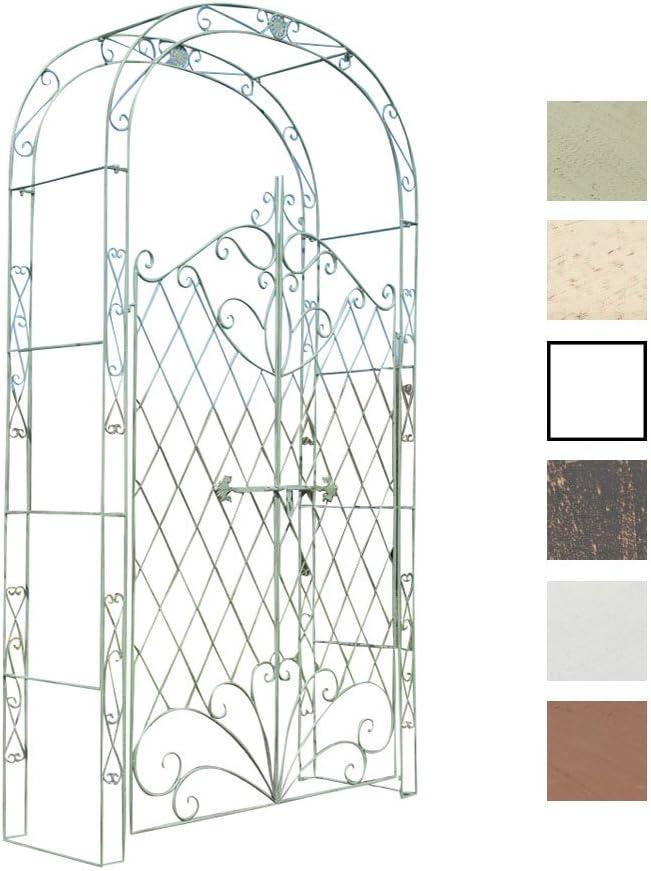 CLP Arco De Jardín con Puerta Melissa I Enrejado con 2 Puerta para Plantas Trepadoras I Entrada Jardín En Forma De Arco para Flores I Color: Verde Envejecido