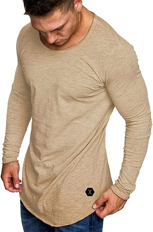 Qiusa Camisetas para Hombre Top de Manga Larga Casual, de Color ...