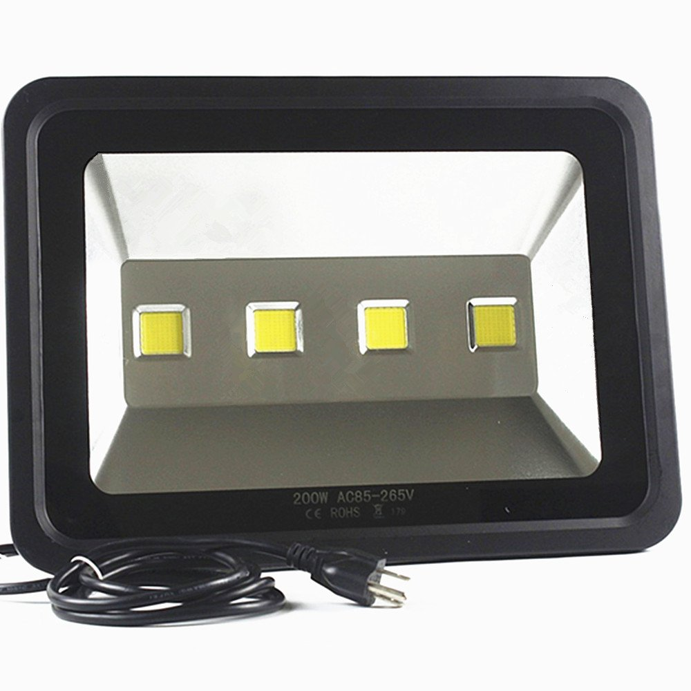 LED Flood light Waterproof Outdoor Lighting - AI YONG LED 200W Street lamp Equivalent to 1000W Halogen Bulb SUPER BRIGHT 6000k White Light 85-265V 50,000 Hrs Lifetime 20,000 lm,2-Year Warranty