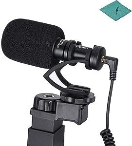 CoMica CVM-VM10-K2 Directional Shotgun Video Microphone Phone Holder Mini Tripod Compatible with iPhone Samsung Huawei 54-95mm Width Smartphones