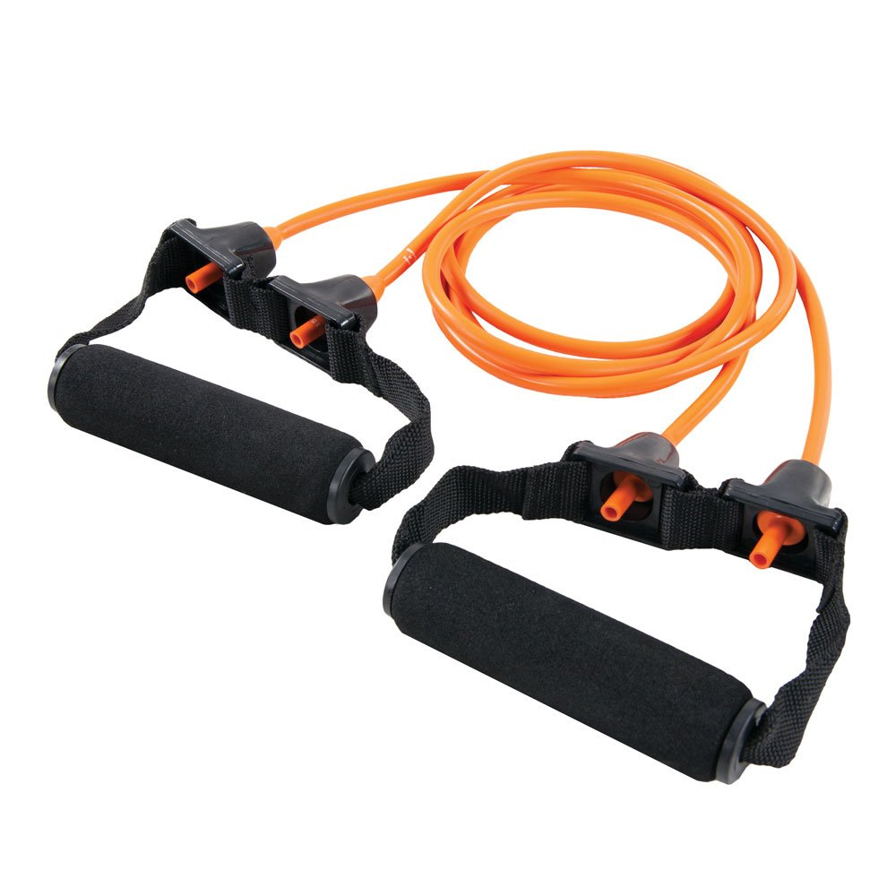 Power Systems Premium Double Versa-Tube with Padded Handles Orange Resistance Band Level: Extra Light 48 Inches 84502 84502 Inc. Resistance Band Level:  Extra Light 48 Inches
