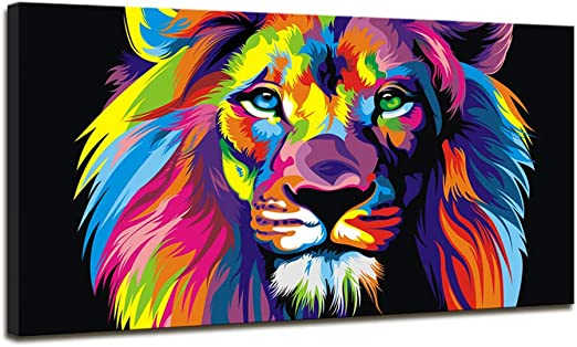 Large Lion Black and White Home Decor Nature Framed Canvas Print Wall Art 119