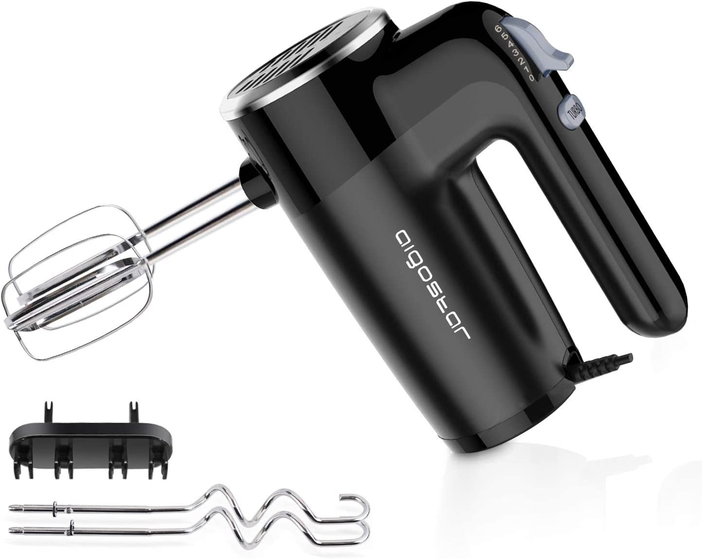Aigostar 6-Speed Electric Hand Mixer - Handheld Mixers Beaters with Dough Hooks for Baking Cake