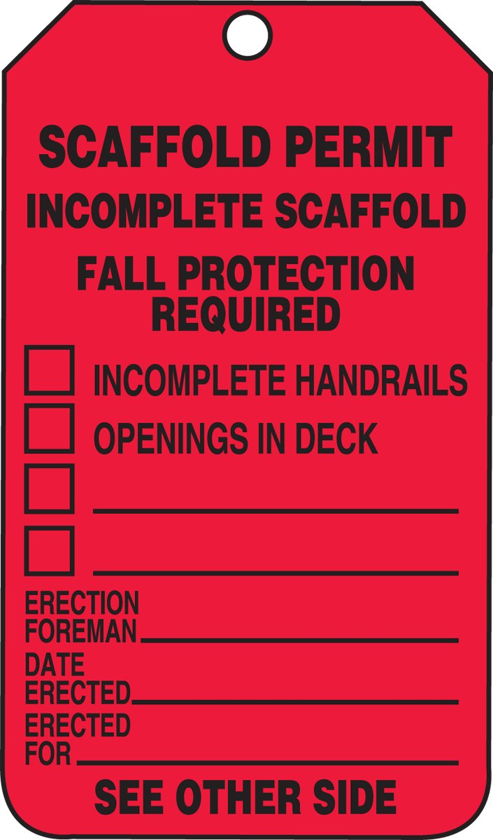 Accuform Signs TRS320CTP Scaffold Status Tag, Legend ''SCAFFOLD PERMIT - INCOMPLETE SCAFFOLD - FALL PROTECTION REQUIRED (CHECKLIST)'', 5.75'' Length x 3.25'' Width x 0.010'' Thickness, PF-Cardstock, Black on Red (Pack of 25)