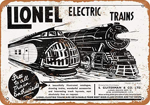 F-More Office Signs 8 x 12 Metal Sign - 1935 Lionel Trains Up M-10000 - Vintage Look Reproduction Metal Ornaments Home Decor