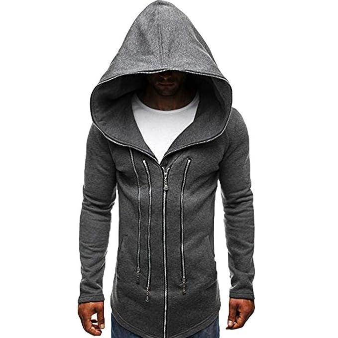 Chaqueta de Hombre de BaZhaHei, Otoño invierno moda sudadera con cremallera sudadera manga larga blusa