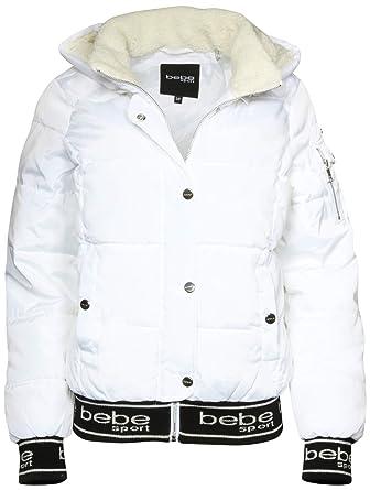 BEBE SPORT Women\s Bomber Bubble Jacket with Detachable Sherpa Lined Hood, White