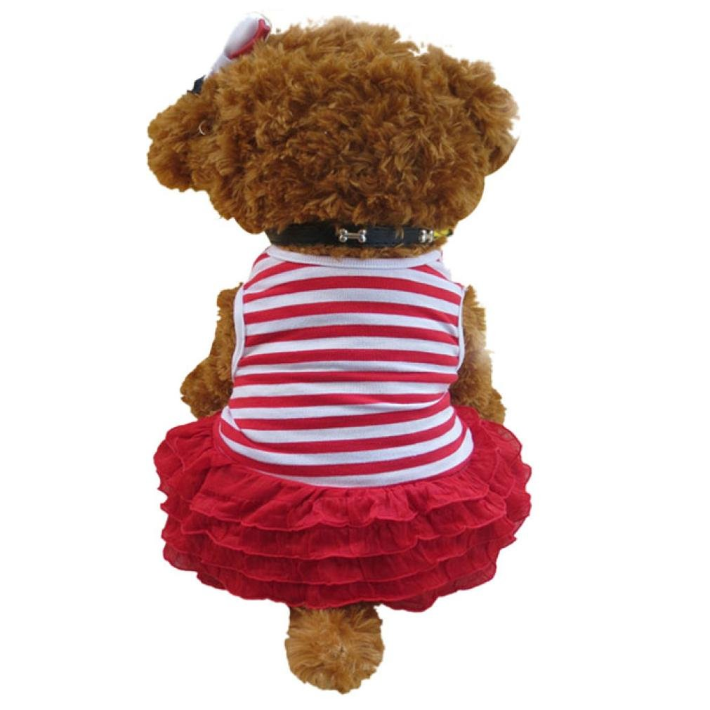 Wakeu Small Dog Girl Dress Pet Puppy Lace Stripe Vest Shirt Clothes (S, Red)