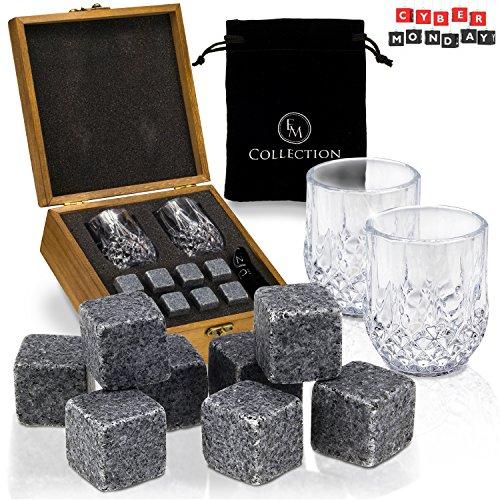 Whiskey Stones Gift Set w/ 8 Granite Whiskey Rocks,2 Crystal Whiskey Glasses & Velvet Bag by EMcollection|Reusable...