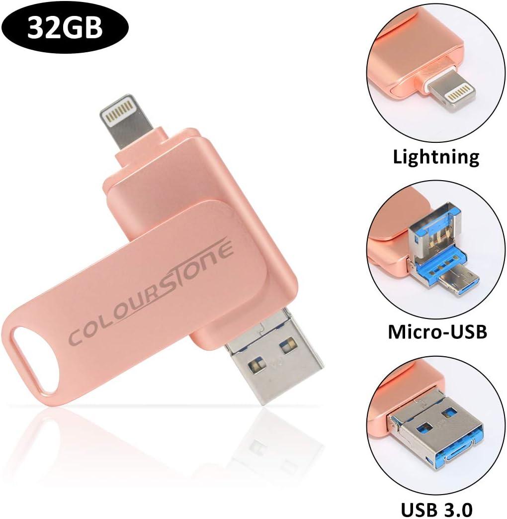 USB 3.0 Pen Drive 32 GB, Colourstone 3 en 1 Memoria Flash USB Lápiz Drive OTG para iPhone, iPad, Android, PC, Rosa