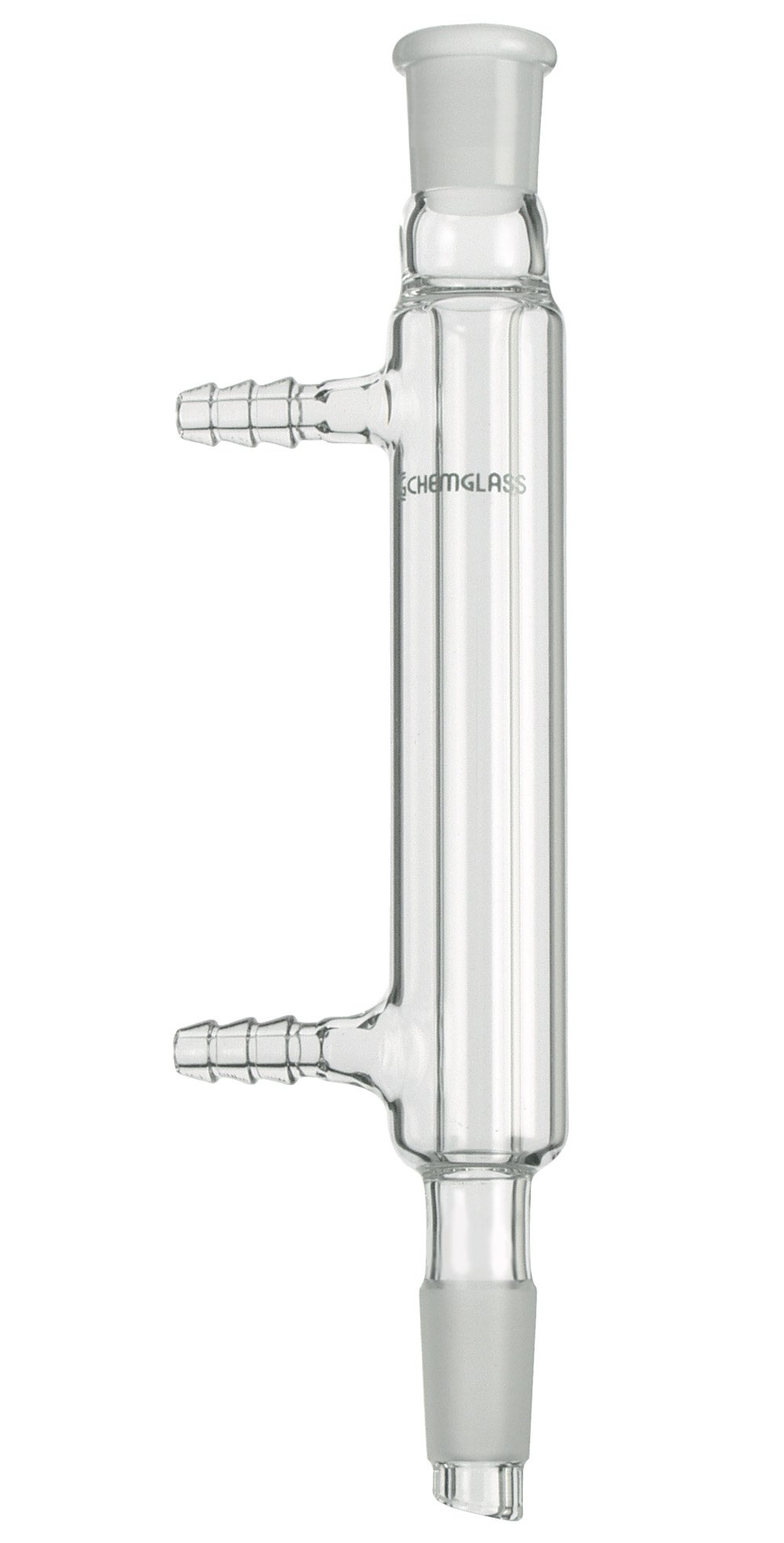 Chemglass CG-1218-A-20 Glass Small Scale Liebig Condenser, 110mm Jacket Length, 185mm Overall Length, 14/20 Top Outer Joint, 14/20 Lower Inner
