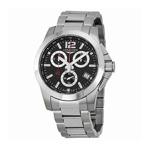 Longines Conquista Cronógrafo Negro Dial Acero inoxidable reloj para hombre l37004566: Longines: Amazon.es: Relojes