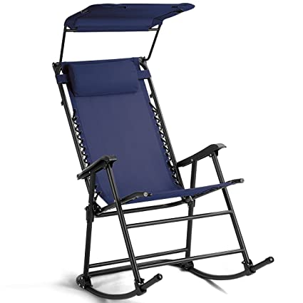 Delightful Navy Blue Fabric Folding Zero Gravity Rocking Chair Sunshade Canopy Rocker  With Armrest Backyard Patio Lawn