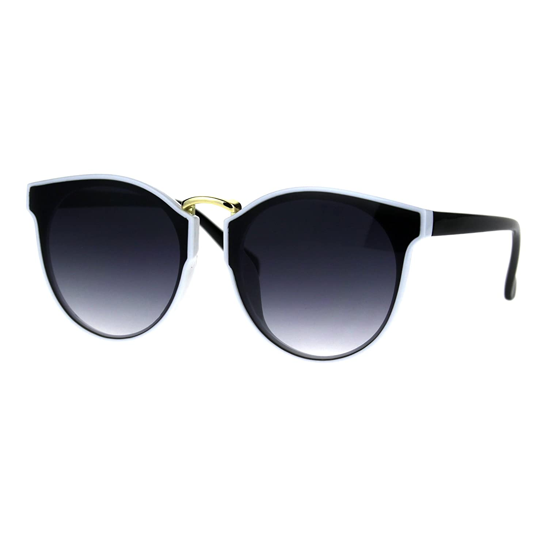 Hipster Plastic Horned Rim Mens Metal Bridge Sunglasses