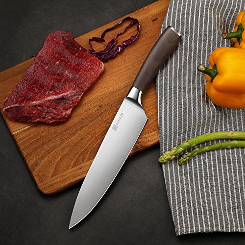 PAUDIN Kitchen Knife, 8 inch Chef Knife N2 German Stainless Steel knife with Sharp Edge and Ergonomic Wood Handle, 5Cr15Mov kitchen knife for Pro & Home Chefs by PAUDIN (Image #5)