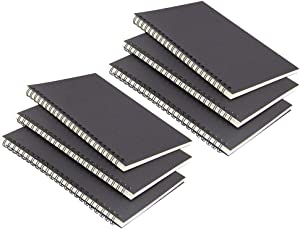 6 Pack Black cover Spiral Notebook, Blank Sketch Book Pad, Subject Notebooks,50 Sheets (100 Pages)-8.27x 5.59inch,A5 size Notebook.(Blank)