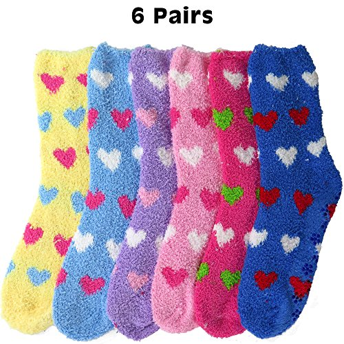 DEBRA WEITZNER Womens Bright Fuzzy Socks Non-skid Grip Ultra Soft 6 pairs, Hearts a With Grip, Women's 9-11