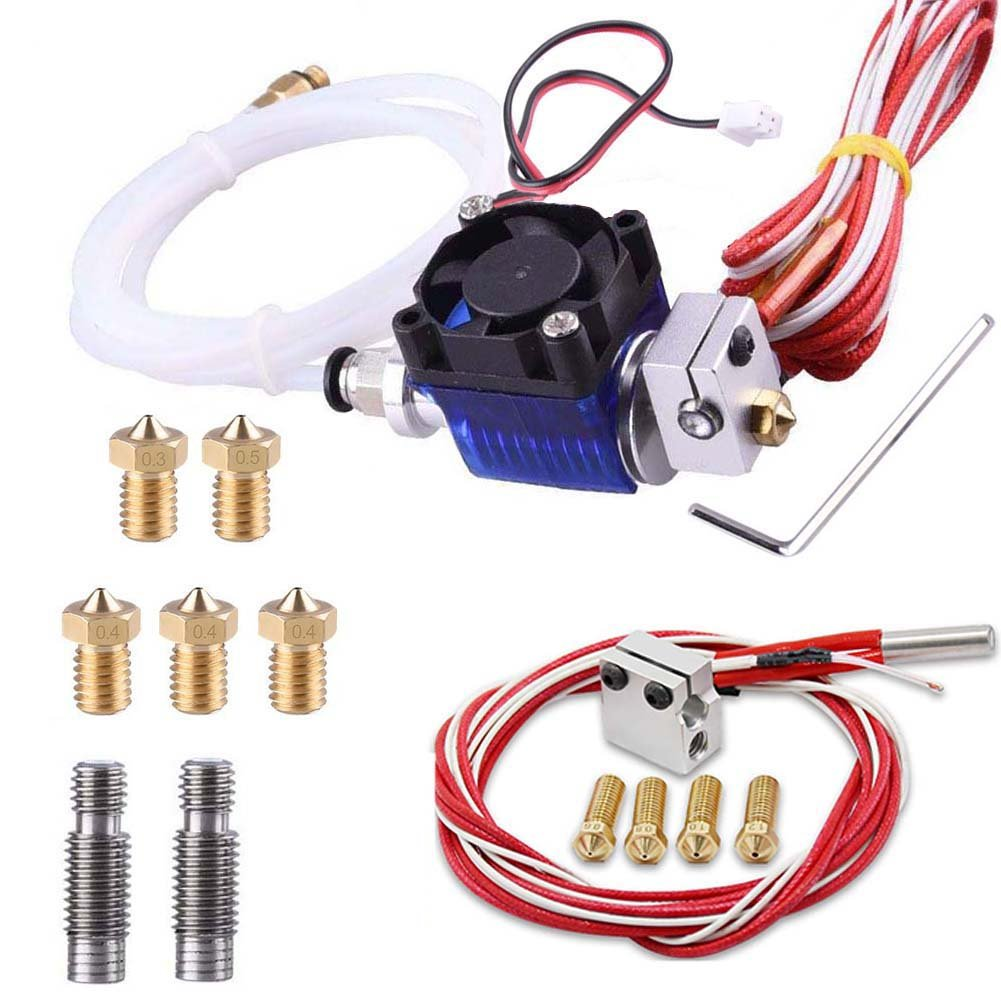Kee Pang All-Metal J-Head V6 Hotend Kit with 5 Pcs Extruder Print Head and Nozzle Throat + Volcano Heating Block+ 4 Pcs Volcano Extruder Nozzles for 3D Printers