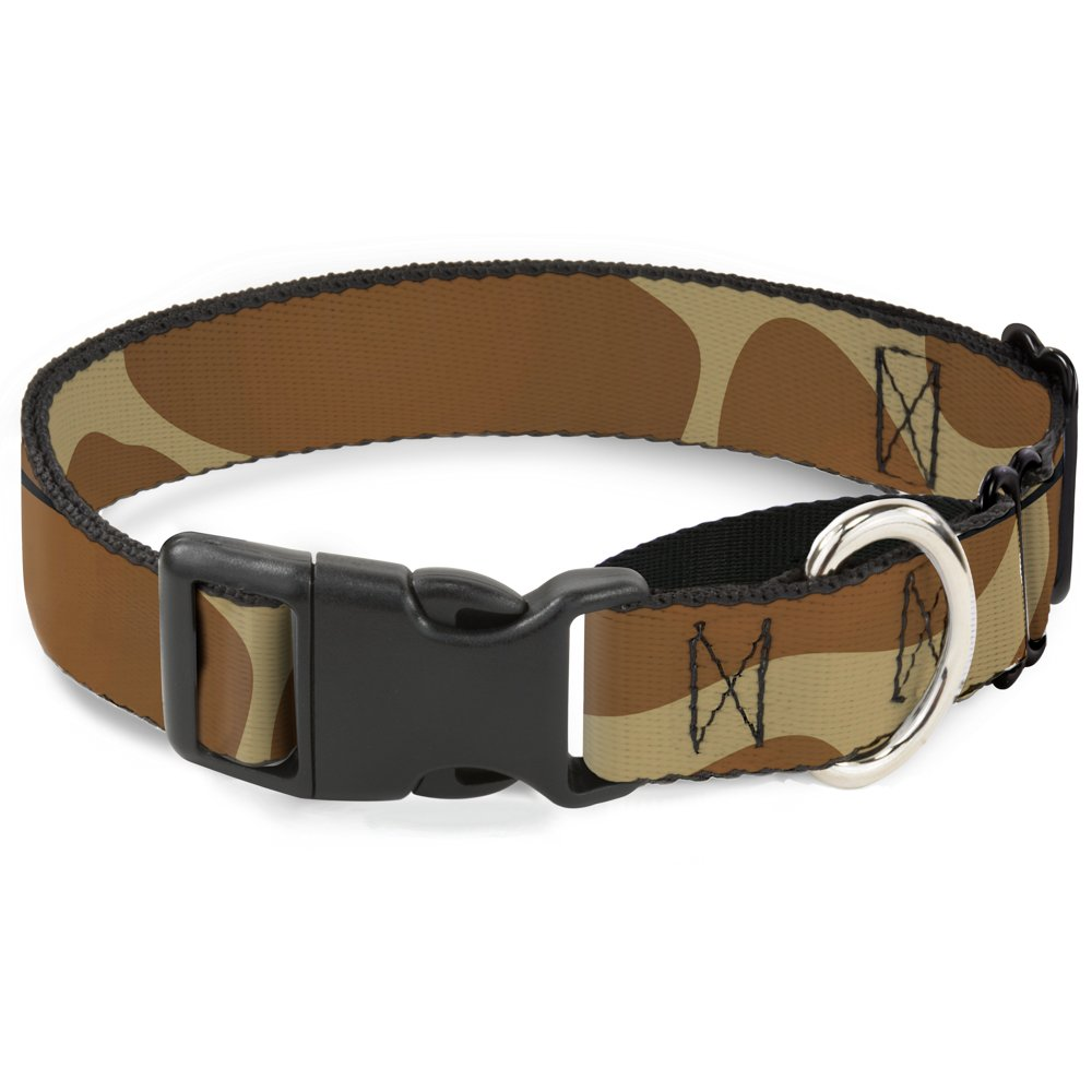 Buckle-Down Giraffe Spots Tan Brown Martingale Dog Collar, 1  Wide-Fits 15-26  Neck-Large