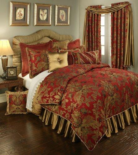 Austin Horn Classics Red Verona Bedding Collection, 4-Piece, Queen (Bedskirt Austin)