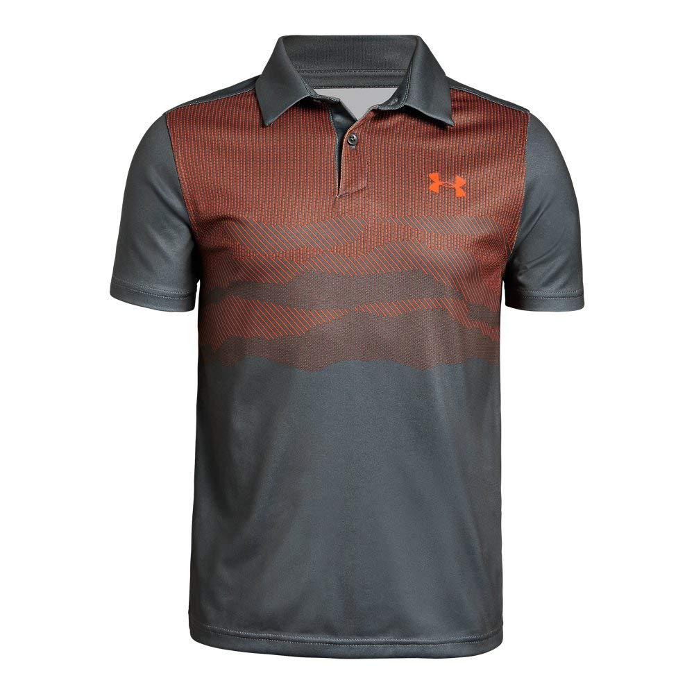 Under Armour Tour Tips Engineered Polo, Pitch Gray//Papaya, Youth X-Small