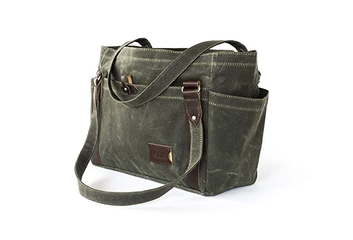 3d50e0a1252f Amazon.com  Waxed Canvas Tote Bag with Pockets  Personalized Large Shoulder  Handbag