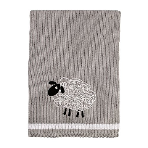 NoJo Good Night Sheep Knit Blanket, Black & White, 30'' x 40'' by NoJo