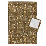 Roostery Steampunk Tea Towels Steampunk Panel - Pipes - Brass by Bonnie Phantasm Set of 2 Linen Cotton Tea Towels