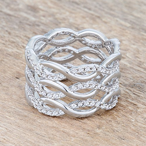Cocktail Ring Woman Clear Round Cubic Zirconia Pave Setting Kate Bissett Classic
