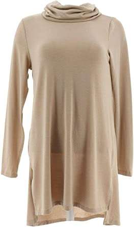 Lisa Rinna Collection Long Slv Knit Cute Tunic Side Slits Walnut M NEW A267490